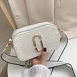 Женская прямоугольная сумка на ремешке рептилия розовая пудра, фото 5
