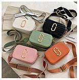 Женская прямоугольная сумка на ремешке рептилия розовая пудра, фото 4