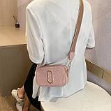 Женская прямоугольная сумка на ремешке рептилия розовая пудра, фото 3
