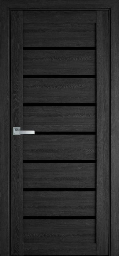 """Дверь межкомнатная остеклённая новый стиль мода пвх ultra """"Леона BLK,G"""" 60 - 90 см дуб серый"""
