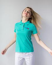 Модная женская бирюзовая медицинская футболка поло с вышивкой