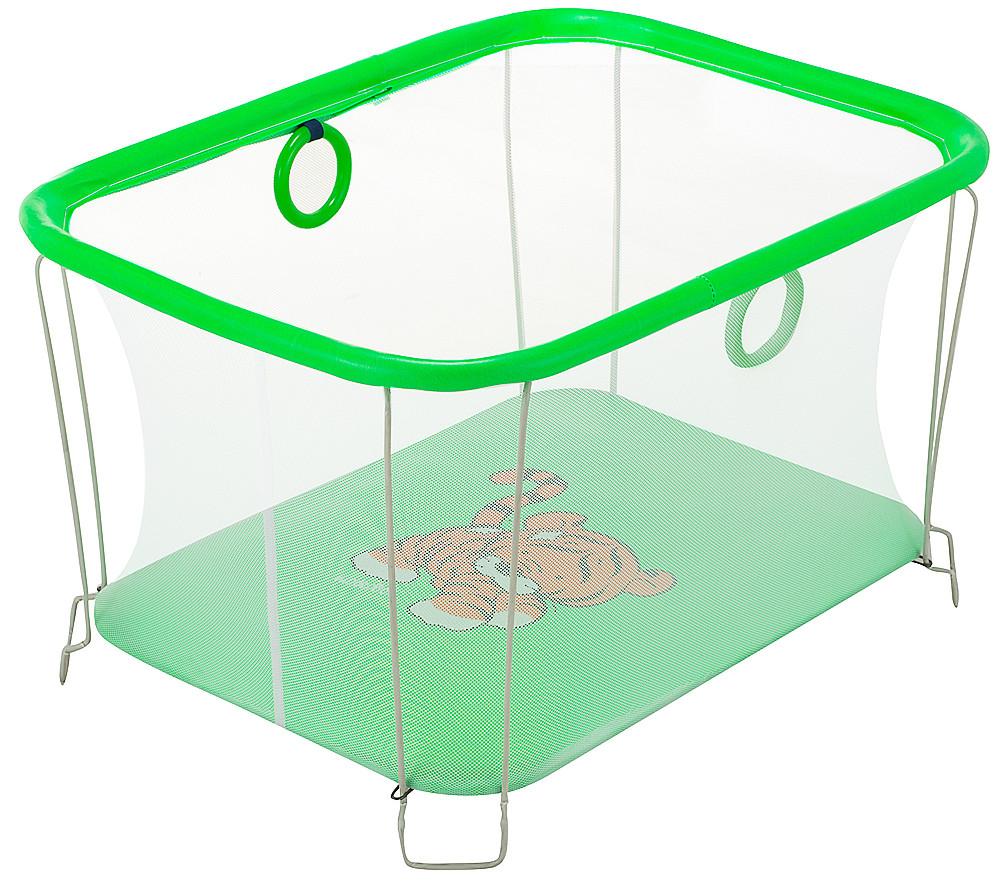 Манеж Qvatro Солнышко-02 мелкая сетка  зеленый (tiger)