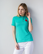 Медицинская женская футболка-поло бирюзовая с вышитым красным сердцем S-XL