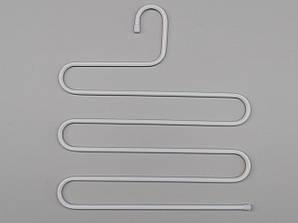 Многоярусная вешалка лестница для брюк металлическая 5 ярусов белого цвета