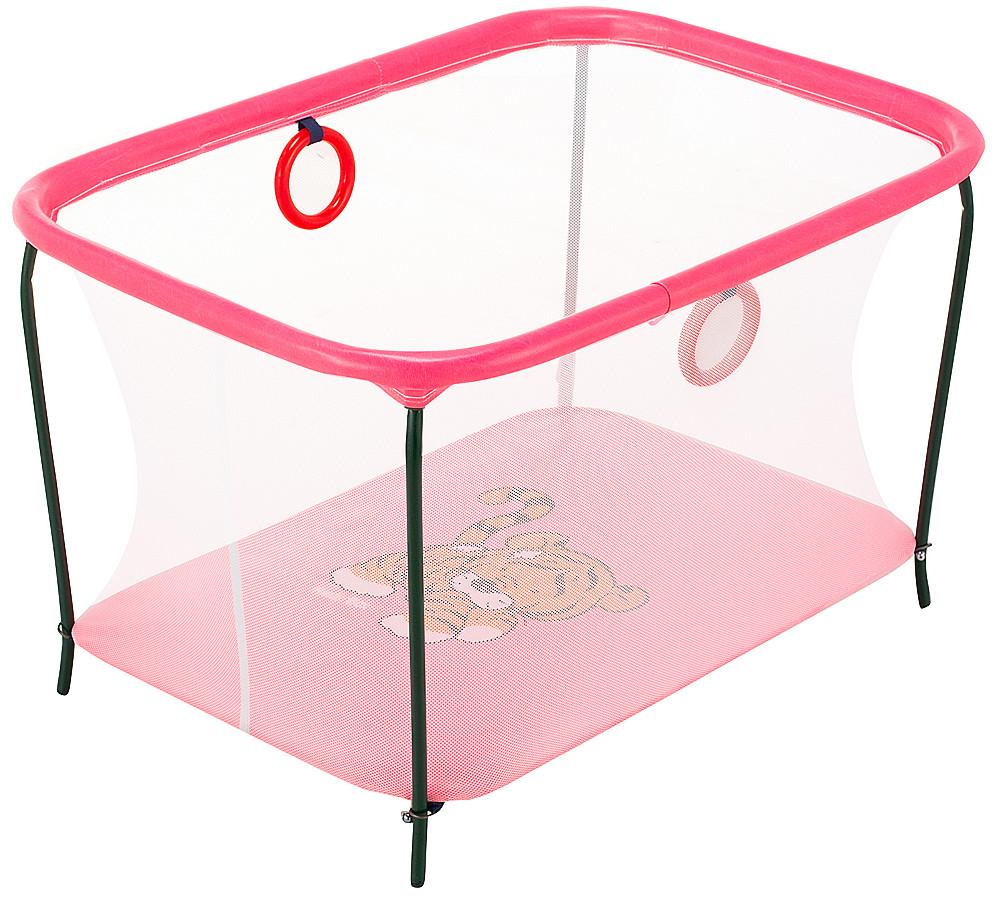 Манеж Qvatro LUX-02 дрібна сітка рожевий (tiger)