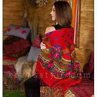 Українська хустка червона (120х120)
