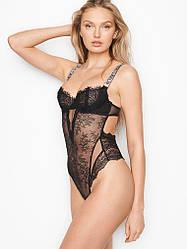 Кружевное боди со стразами Victoria's Secret VERY SEXY Unlined Teddy р. M, Черное
