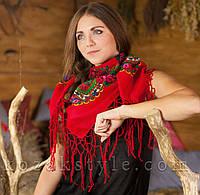 Українська хустка червона (90х90)