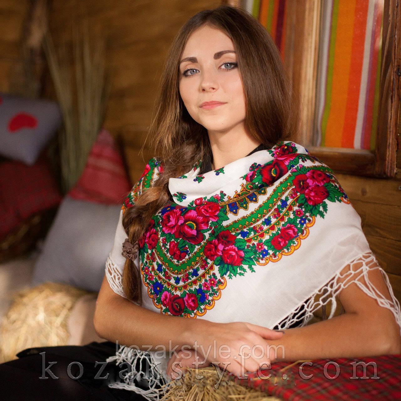 Українська хустка біла (90х90)