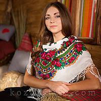 Українська хустка біла (90х90), фото 1