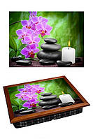 Поднос на подушке BST 040362 44*36 коричневый цеты, свечи, камни
