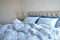 Сімейний комплект із 100% пом'якшеного льону LOFT MELANGE BLUE, фото 1