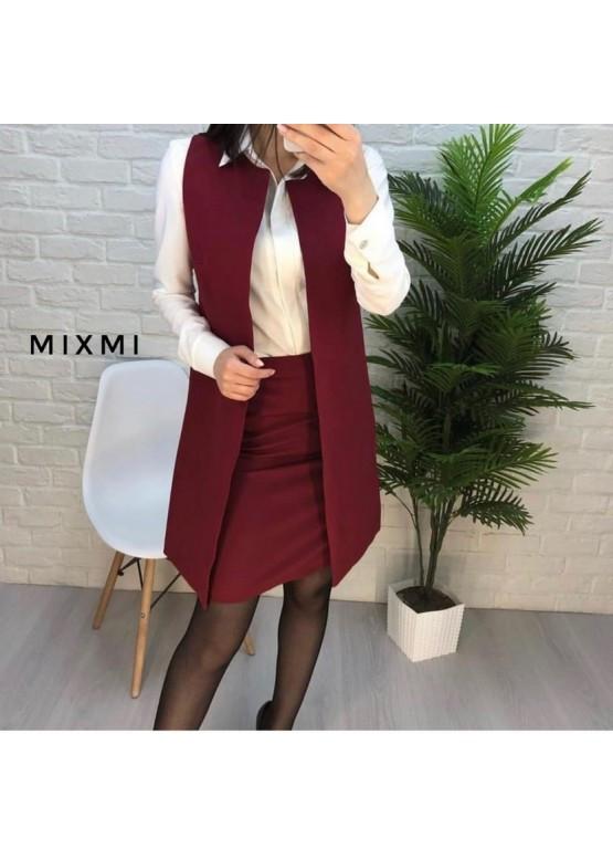 Женский юбочный костюм в офис с удлиненным кардиганом