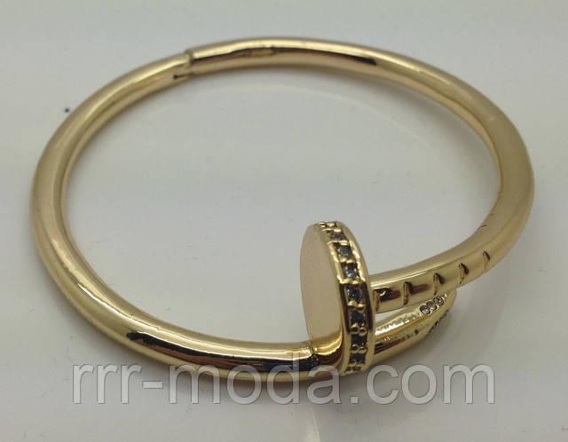 Элитные браслеты гвоздь Cartier под золото и серебро оптом. Шикарные браслеты под бренд Cartier со стразами.