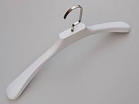 Довжина 45 см. Плічка вішалки тремпеля дерев'яні білого кольору широкі, фото 2