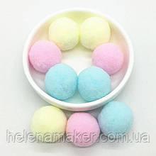 Разноцветные помпоны нежных оттенков 30 мм 20 грамм