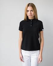 Женское медицинское поло черного цвета размер S - XL