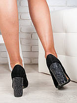 Туфли на каблуке черная замша блестки 6472-28, фото 2