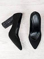 Туфли на каблуке черная замша блестки 6472-28, фото 3