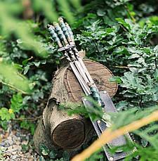 """Набор шампуров c мраморными ручками в комплекте с шашлычной вилкой """"Imperium"""" (6шт, 3мм) в колчане из кожи, фото 3"""