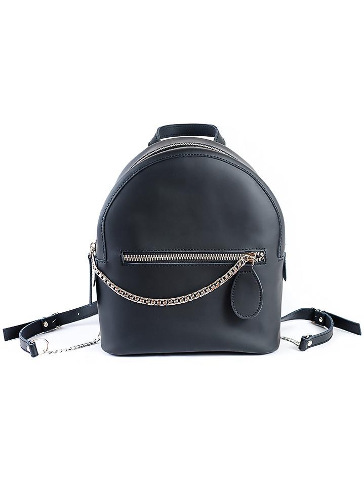 Кожаный черный рюкзак 6763-11