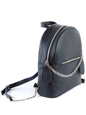Кожаный черный рюкзак 6763-11, фото 2