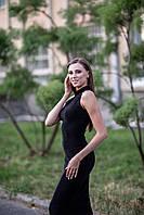 Женское вечернее платье миди с люрексом черного цвета