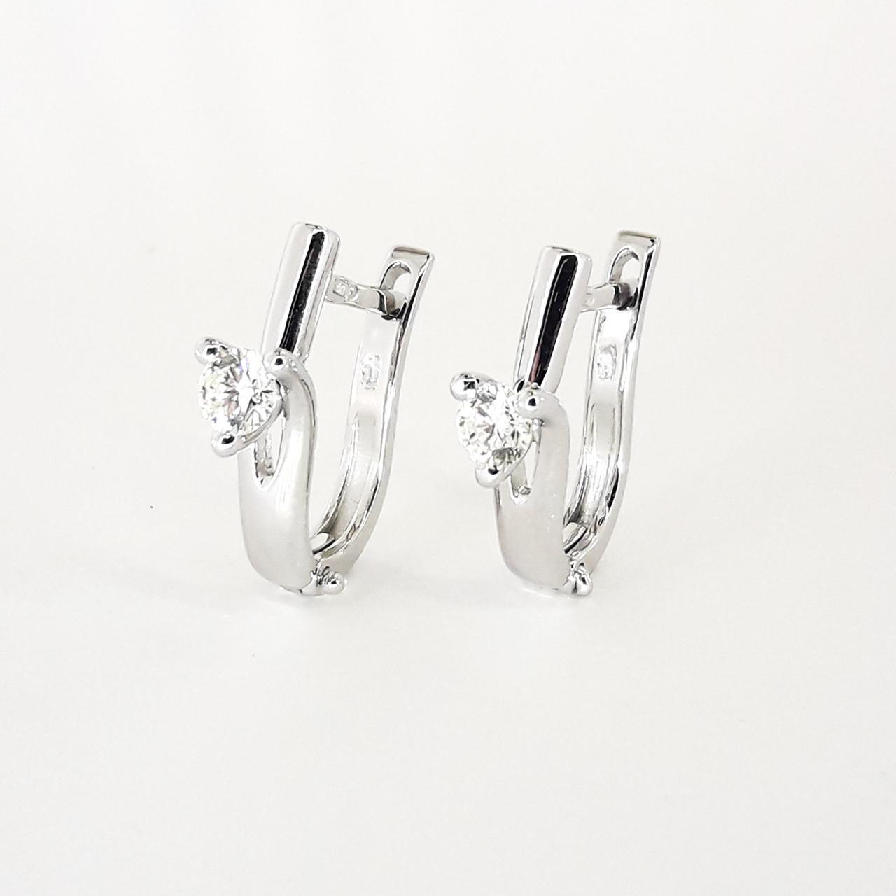 Золотые сережки с бриллиантами из белого золота