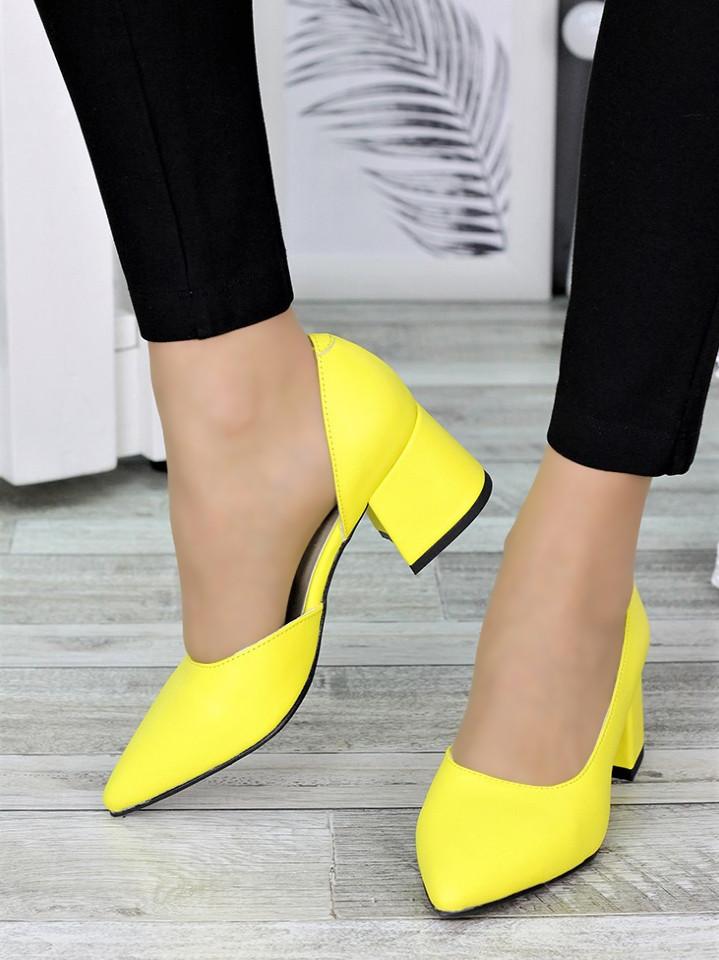 Туфли лодочки желтые Laura 7327-28