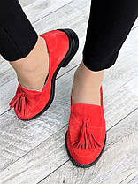 Туфли лоферы №2 красная замша 7375-28, фото 2