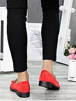 Туфли лоферы №2 красная замша 7375-28, фото 3