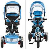 Детский трехколесный велосипед с ручкой и  поворотным сиденьем на надувных колесах,TURBOTRIKE голубой, фото 4