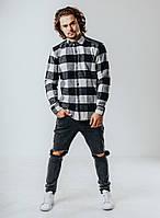 Рубашка мужская клетчатая.Стильная осенняя рубашка серого цвета., фото 1