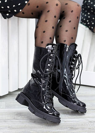 Высокие ботинки на шнуровке лак кожа 7514-28, фото 2