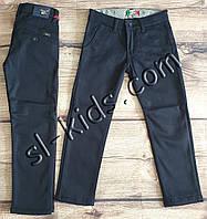 Коттоновые штаны на флисе для мальчика 11-15 лет опт (темно синие) пр.Турция, фото 1