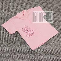 Детская кофточка футболка р 74 5-7 мес с кнопками короткий рукав для малышей летняя КУЛИР 3174 Розовый А