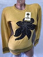 Свитер женский модный Цветы размер 48-50, цвет уточняйте при заказе, фото 1