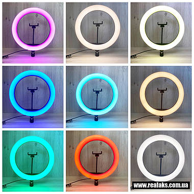 Многофункциональная кольцевая LED лампа RGB SOFT RING LIGHT MJ33 33''см + штатив 2.1м, фото 2