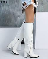Зимние белые сапоги на высоком каблуке, фото 1