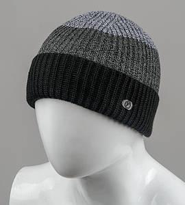 Бесшовная мужская шапка с отворотом (С2003), Черный+Серый