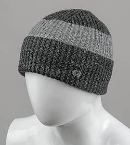 Бесшовная мужская шапка с отворотом (С2003), Серый+Св.Серый