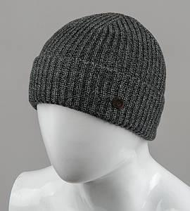 Бесшовная мужская шапка с отворотом (С2003), Серый