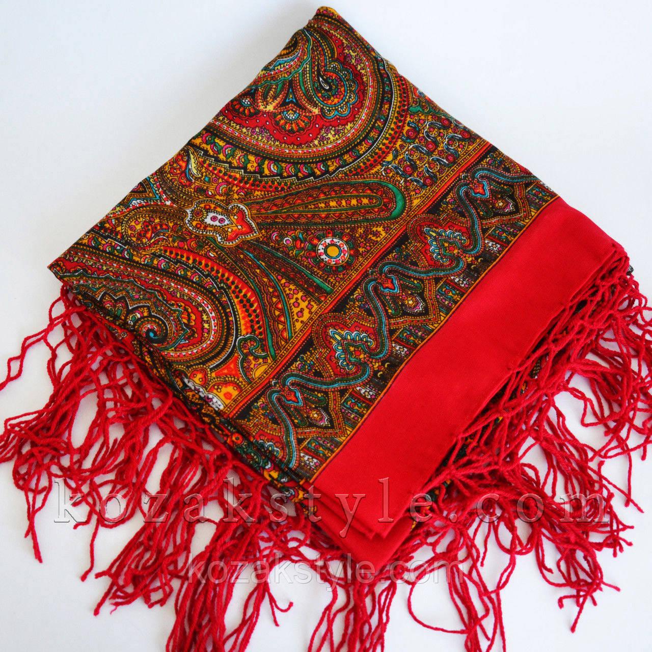 Українська хустка коричнево-червона