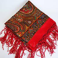 Українська хустка коричнево-червона, фото 1
