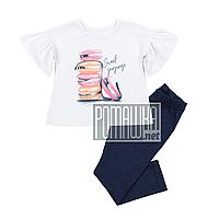 Детский летний костюм 104 2-3 года комплект для девочки футболка и лосины на лето из СТРЕЙЧ-КУЛИР 4672 Белый