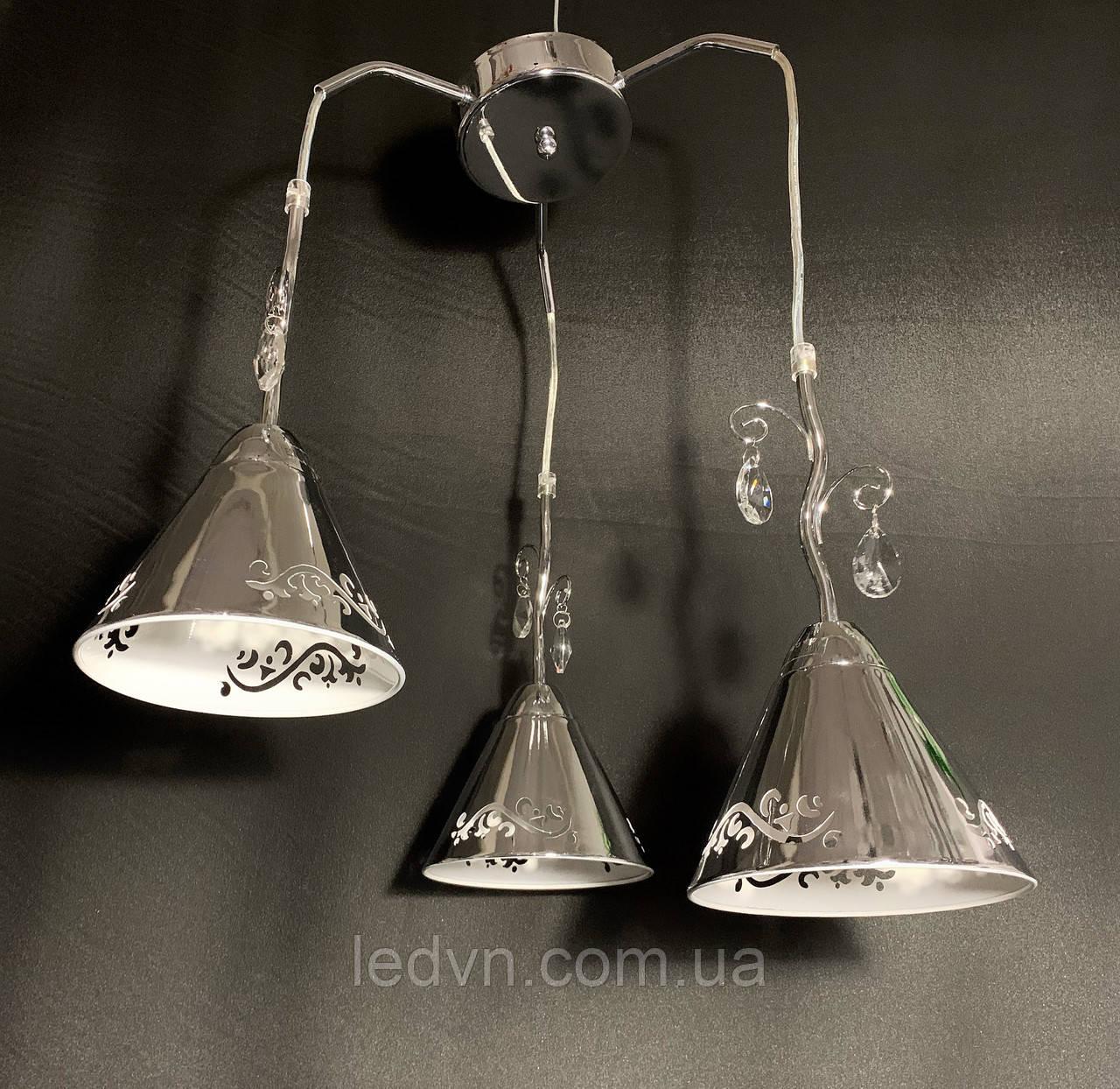 Підвіс на 3 лампи з камінням срібло