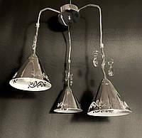 Підвіс на 3 лампи з камінням срібло, фото 1