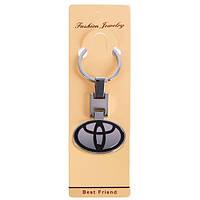 Брелок для ключей авто металлический цветной на цепочке TOYOTA CN двухсторонний (металл цветн. TY CN)