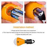 Лампа з гачком для намету кемпінг 3 LED ліхтар на батарейках, фото 2