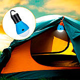 Лампа з гачком для намету кемпінг 3 LED ліхтар на батарейках, фото 3
